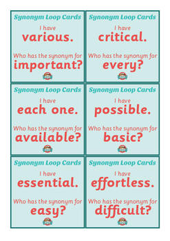 Synonym Loop Cards - Literacy Warm Up Game