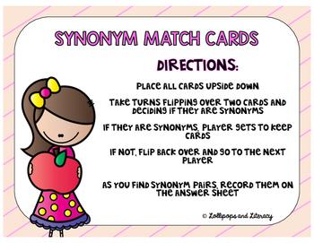 Synonym Match Cards