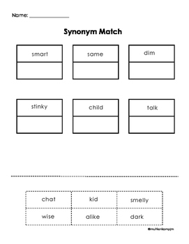 Synonym Match- Cut and Paste