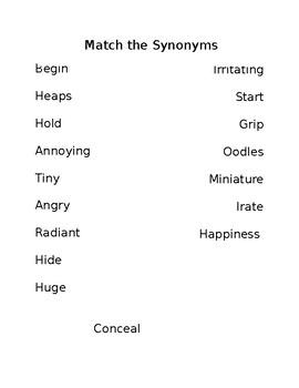 Synonym Match/Exit Ticket