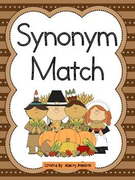 Synonym Match Thanksgiving Theme