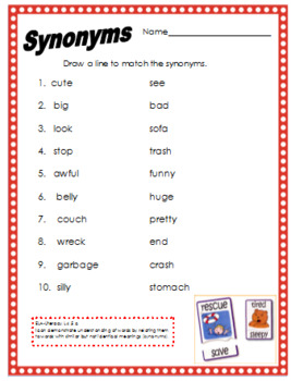 Synonym Match Worksheet