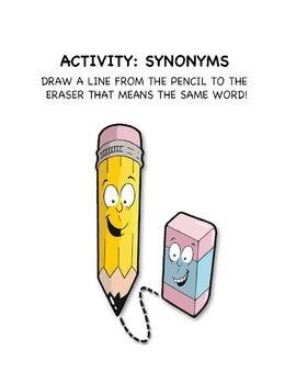 Synonym Matching Activity - Pencil & Eraser Themed [Grades 2-3]