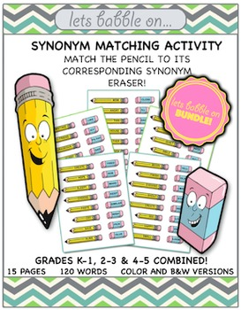 Synonym Matching Activity Bundle [Grades K-5]