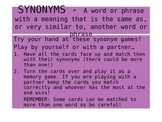 Synonym Matching Card Game - Instructions Included