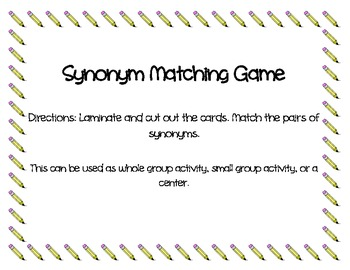 Synonym Matching Game