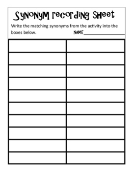 Synonym Matching and worksheet black and white