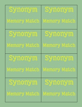 Synonym Memory Match
