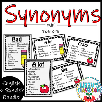 Synonym Mini Posters By Lizzy S Classroom Teachers Pay Teachers Excess, extra amounts and things added. teachers pay teachers
