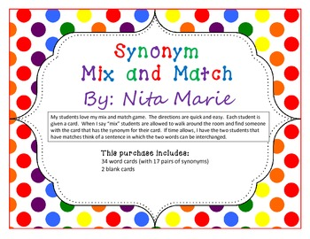 Synonym Mix and Match Card Game by Nita Marie