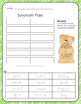 Synonym Pairs - Cut, Match, and Paste - 3 Pack