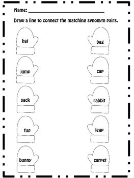 Synonym Pairs Mitten Matching Cards and Worksheets