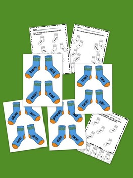Synonym Pairs Sock Matching Cards and Worksheets