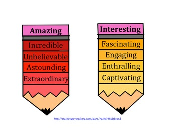 Synonym Pencils for Commonly Used Adjectives