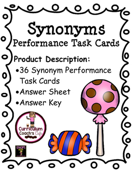 Synonym Performance Task Cards:  Great for Daily Five!