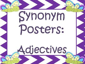 Synonym Posters For Overused Adjectives:  Purple Chevron