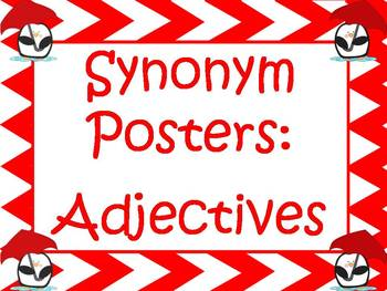 Synonym Posters For Overused Adjectives: Red Chevron