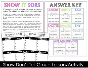 Synonym Posters & Show Don't Tell Writing Activities
