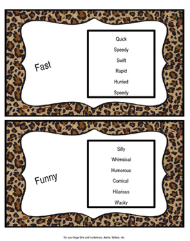 Synonym Posters (jungle themed)