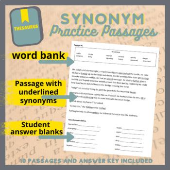 Synonym Practice Passages