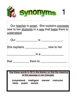 Synonym Practice Worksheets