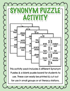 Synonym Puzzle Activity for Grades 2, 3, 4 {Literacy Station}
