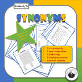 Synonym Puzzles: Crosswords, Wordsearches, Matching, Multiple Choice