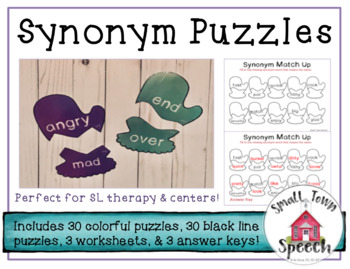 Synonym Puzzles & Worksheets- Winter Speech and Language Activity