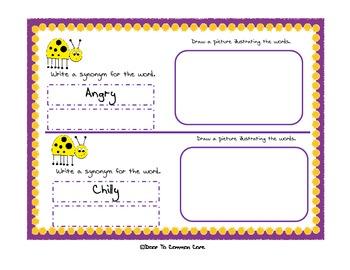 Synonym Review Flipbook - 2nd Grade ELA CCGPS