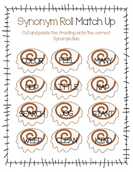 Synonym Roll Match Up an Sentence Work Freebie