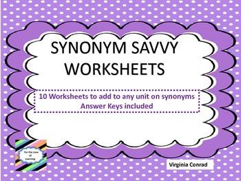 Synonym Savvy Worksheets