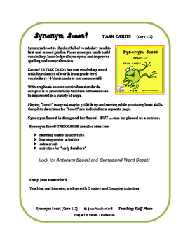Synonyms | REVIEW | Scoot Task Cards | CORE Vocabulary | Game | Grades 1-2