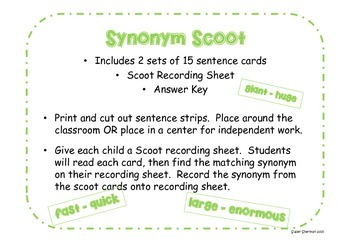 Synonym Scoot & Matching Game