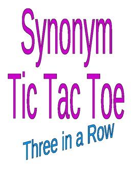 Synonym Tic Tac Toe Game