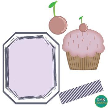 Digital Paper and Frame Set- Cupcakes
