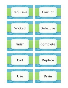 Synonym Snap Card Game