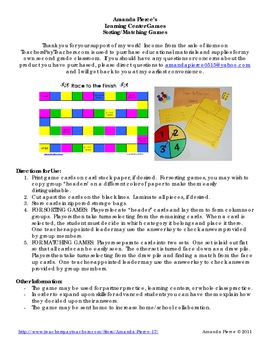 Synonym Sort Learning Center Game