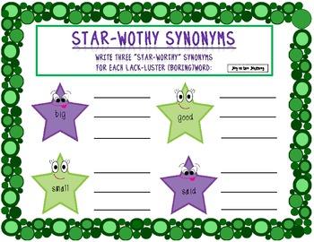 Synonym Stars Activity Packet
