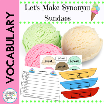Vocabulary Word Work: Synonym Sundaes