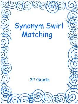 Synonym Swirl Matching  3rd Grade Level Words