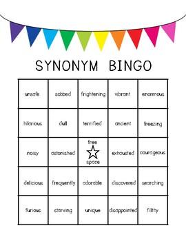 Synonym Task Card Bingo