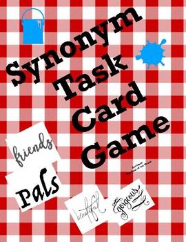 Synonym Task Card Matching Game & Challenge Quiz
