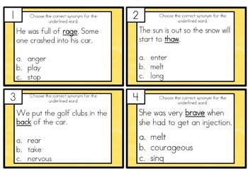 Synonym Task Cards Differentiated
