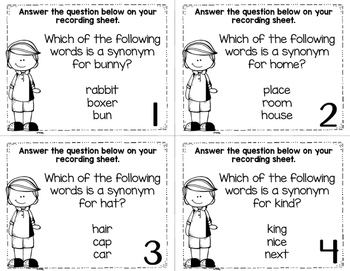 Synonym Task Cards Set 2 Colored/Black and White Versions