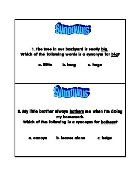 Synonym Task Cards and Activity Sheet