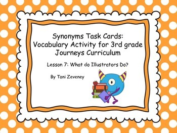 Synonym Task Cards for Journeys 3rd Grade