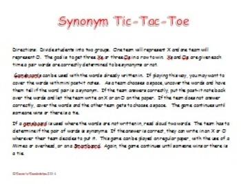 Synonym Tic-Tac-Toe