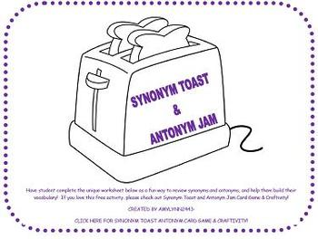 Synonym Toast and Antonym Jam Activity