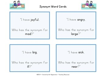 Synonym Word Cards Gr.1-3