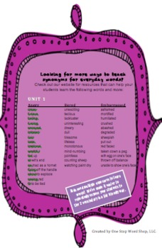 Synonym Word Search Puzzle
